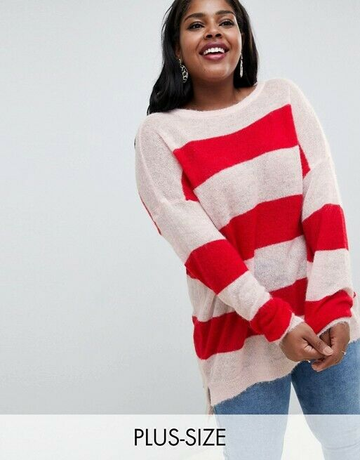 Glamgoldus Plus US 18 2X Oversized Sweater Pink Red Stripe Mohair Merino Wool
