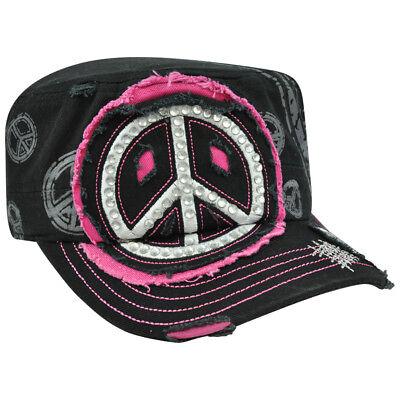 Sport Friedenssymbol Strass Mode Seenot Müdigkeit Militär Damen Castro Mütze Schwarz