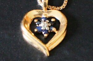 Sterling-Silver-Gold-Wash-925-Saphire-Heart-Pendant-Necklace-Box-Chain-R-Italy