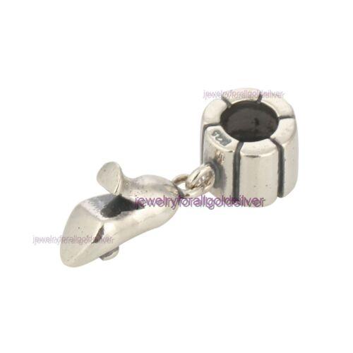 Sterling Silver 925 European Charm High Heel Shoe Dangle Bead