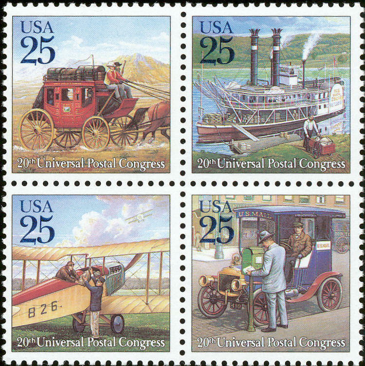 1989 25c Traditional Mail Delivery, Block of 4 Scott 24