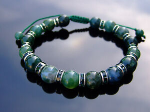 Moss Agate Natural Gemstone Bracelet 6-9'' Macrame Healing Stone Chakra Reiki