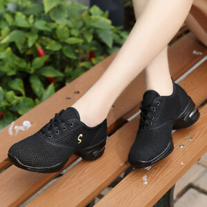 New Ladies Comfy Athletic Sneakers Net Surface Breathable Soft Jazz Dance Shoes