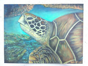 Original-acrylic-art-Sea-Turtle-Beach-Coastal-Nautical-18x24-034-Stretched-Canvas