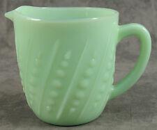 JADEITE GREEN GLASS BEADED HOBNAIL 20 OUNCE MILK PITCHER