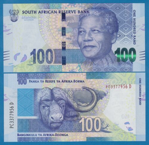 South Africa 100 Rand P 141b UNC Sign Kganyago With Omron rings Safety Dots