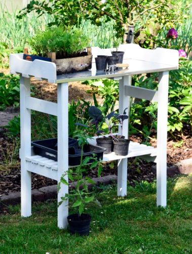 Weißer Pflanztisch Gärtnertisch Blumentisch Pflanzregal Gartentisch Gewächshaus