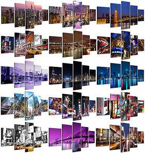 Stampe-su-Tela-Citta-200x90cm-5pz-New-York-Tokyo-Manhattan-Venice-Quadri-Moderni