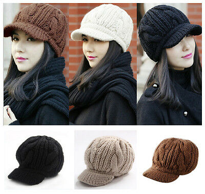 Fashion Winter Warm Women Braided Crochet Knit Ski Beanie Wool Peaked Hat Cap