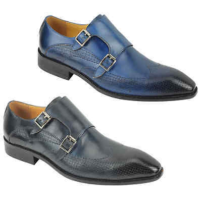 mens blue real leather retro twin buckle monk strap smart