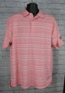 Peter-Millar-Summer-Comfort-Mens-Polo-Golf-Shirt-Red-Pink-White-Striped-Size-Lrg