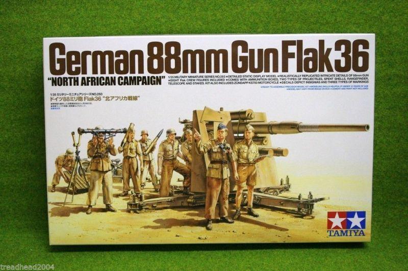 Tamiya GERMAN 88mm GUN FLAK 36 NORTH AFRICA CAMPAIGN 1 35 Scale Kit 35283