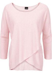 super popular b07a4 30a52 Details zu Damen Pullover rosa Wickeloptik S M XL mit 3/4 Arm Pulli Viscose  Shirt neu 706