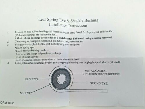 Prothane Front Leaf Spring Eye /& Shackle Bushing FOR 79-85 Toyota Pickup 4Runner