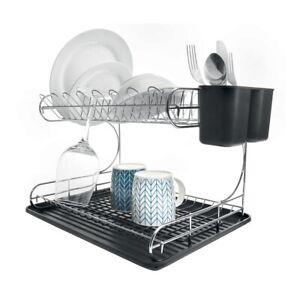 2 Tier Dish Rack Drainer Holder Sink Drying Black Drip Tray