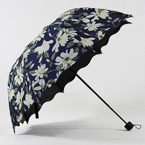 Les femmes parapluie 3 Pliant Motif UV preuve parasol Noir revêtement non automatique