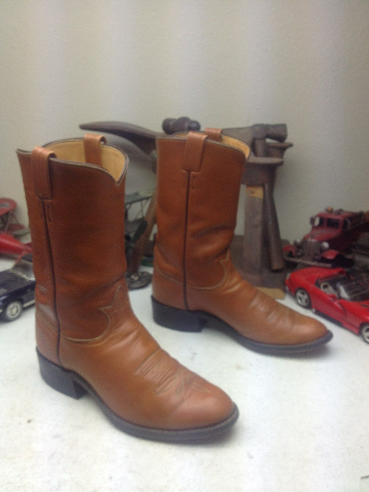 VINTAGE USA 2054 TONY LAMA BROWN BROWN BROWN LEATHER SADDLE WESTERN ENGINEER BOOTS 10.5 D a9f36f