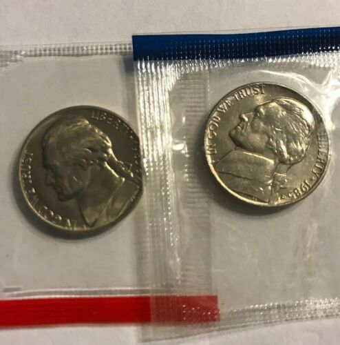 1985 P /& D Jefferson Nickels 2 Coin UNC Cellos from US Mint Set Five-Cent Coins