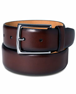 225-TASSO-ELBA-Mens-BROWN-LEATHER-STRAP-CASUAL-DRESS-SILVER-BUCKLE-BELT-SIZE-42