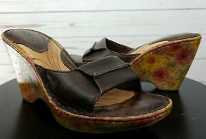 Born-Shoes-Born-Leather-Cork-Floral-Wedge-Sandal-Size-6