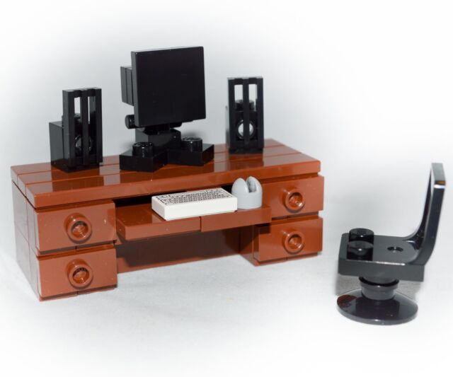 Lego Furniture Computer Desk Set W Keyboard Monitor Mouse Speakers Chair