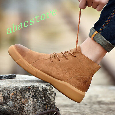 Mens Suede Leather Casual Riding Combat Boot Ankle Slip On Outdoor Oxford Shoes