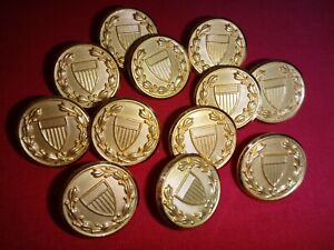 Lot Of 12 US Army JROTC Gold Tone Metal Buttons For Jackets *New, Never Used*