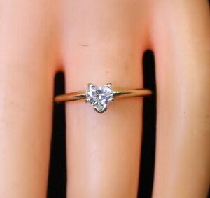 Nice-Estate-14K-Gold-Ladies-40-Ct-Solitaire-Diamond-Heart-Wedding-Ring-s6-75