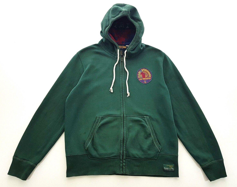 Rugby Ralph Lauren Sportsmans New York Grün Hooded Sweatshirt Größe XL  Herren