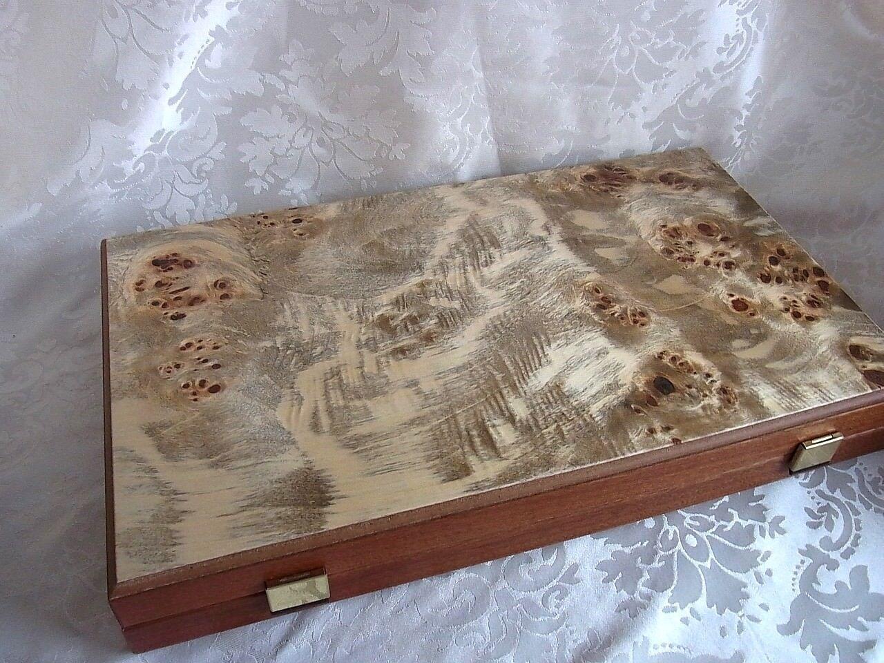 Lujo Lupo madera backgammon l con fichas Manopoulos a mano