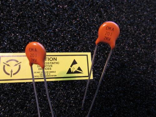 2KV Vishay SPRAGUE Ceramite Ceramic Disc Capacitors NOS Qty 2pcs USA 20pF