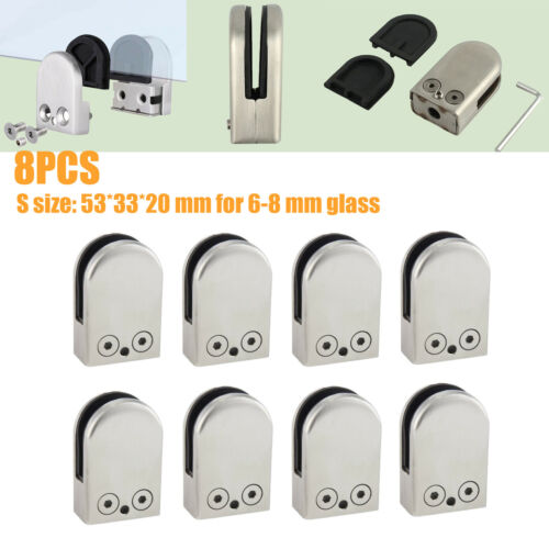 8* 6-8mm Stainless Steel 304 Glass Clamp Clips Bracket Flat Back for Handrail