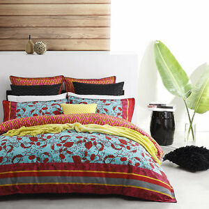 Logan-and-Mason-TADASHI-RED-Floral-QUEEN-Size-Doona-Duvet-Quilt-Cover-Set-NEW