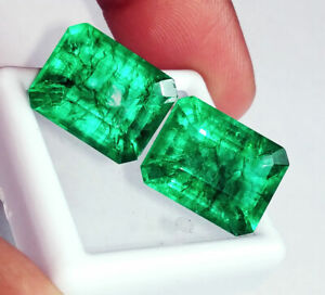 Loose-Gemstones-7-to-9-Cts-2-Pieces-Natural-Emeralds-Certified-Best-Offer