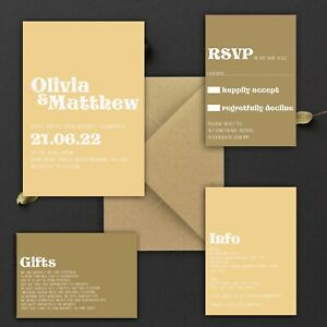 WEDDING-INVITATIONS-Personalised-Retro-70-039-s-Brown-amp-Beige-PACK-OF-10