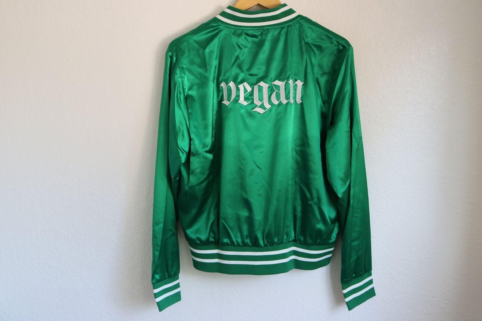 Chaqueta de  raso verde Vegano Bombardero De Botones blancoo abajo Varsity embroid ligero  Con precio barato para obtener la mejor marca.