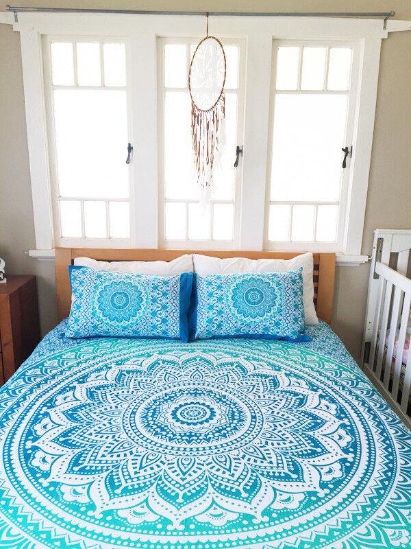 Single Queen Bed Quilt Doona Duvet Cover Set Indian Mandala Blanket Comforter