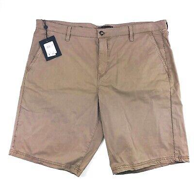 John Varvatos Mens Triple Needle Shorts Size 32 Chino Flat Front Tan Cotton