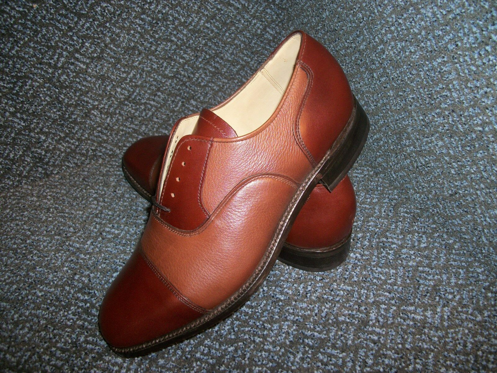 MEN'S BROWN SIZE 6.5 TWO TONED BROWN MEN'S FULL GRAIN LEATHER OXFORDS 972883
