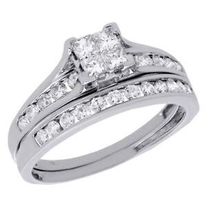 bague diamant princesse or blanc