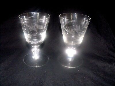 2 VINTAGE CORDIAL GLASSES - WHITE ETCHED FLORAL PATTERN - LOVELY