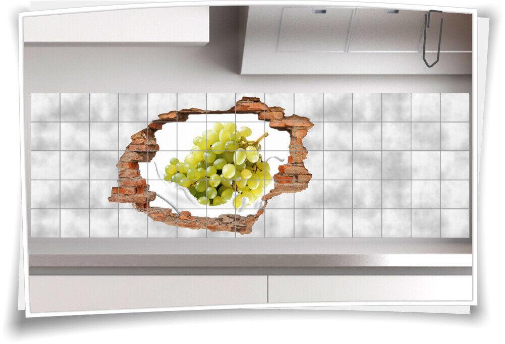 Fliesen-Bild Wand-Durchbruch 3D Fliesen-Aufkleber Wein-Trauben Schale Essen