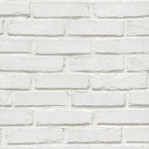 Brique-Rustique-Mural-Papier-Peint-Rouleaux-Blanc-575319-Ugepa-Neuf
