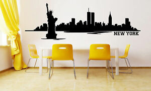 Image is loading New-York-Skyline-Wall-sticker-Decal-Wall-Decals- & Details about New York Skyline Wall sticker Decal Wall Decals u0026 Stickers