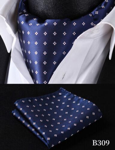 Hisdern Men/'s Polka Dot Cravat Ascot Tie Set Silk Pocket Square Tie Wedding #B2