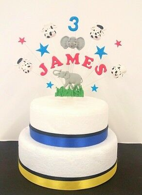 Pleasant Elephant Cow Birthday Cake Topper Decoration Personalised Name Birthday Cards Printable Riciscafe Filternl