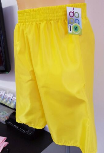 Nylon Satin Leisure Shorts with Pockets S 4XL Yellow
