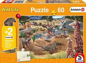 Schmidt-At-the-Watering-Hole-Jigsaw-Puzzle-plus-2-Schleich-Figures-60-Piece