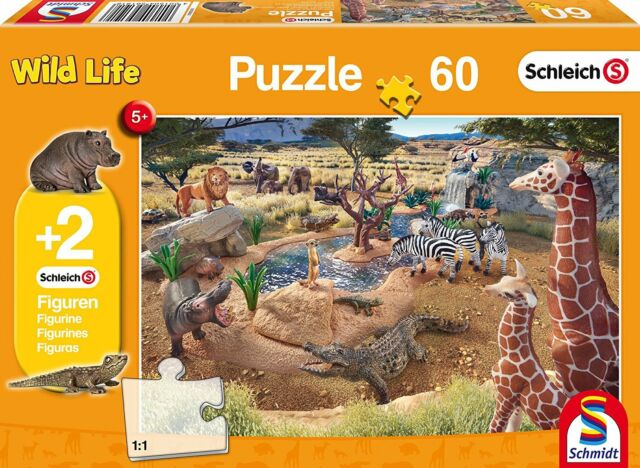 Schmidt At the Watering Hole Jigsaw Puzzle plus 2 Schleich Figures 60-Piece