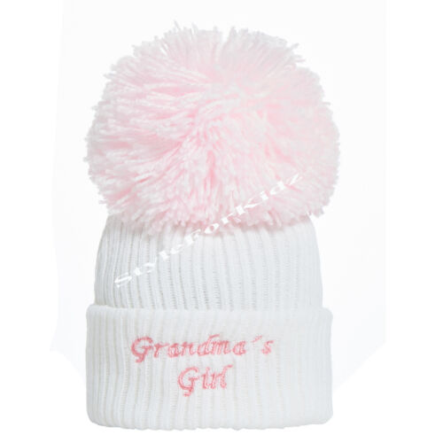 WHITE PINK BABY BOYS GIRLS KNITTED POMPOM HATS 0-3//3-9 MONTHS BLUE//WHITE